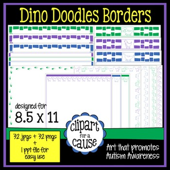 Digital Clip Art Frames: 32 Dinosaur Doodles Borders - Color & Grayscale
