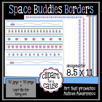 Digital Clip Art Frames: 32 Outerspace Buddies Borders - Color & Grayscale