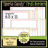 Digital Clip Art Frames: 32 'Sports Candy' Fruit Borders - Color & Grayscale