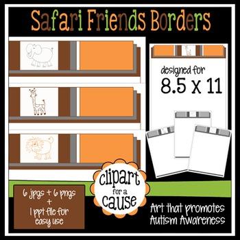 Digital Clip Art Frames: 6 Safari Friends Animal Borders - Color & Grayscale