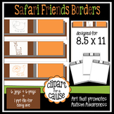Digital Clip Art Frames: 6 Safari Friends Animal Borders -