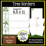 Digital Clip Art Frames: 8 Seasonal Tree Borders - Color & Grayscale