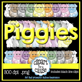 Digital Clip Art: Girl & Boy Pigs - 8 Colors & Black Line Graphics - 40 pc set