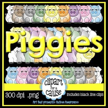 Digital Clip Art: Girl & Boy Pigs - 8 Colors & Black Line