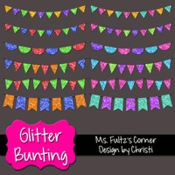 Digital Clip Art: Glitter Bunting Pennant Banners