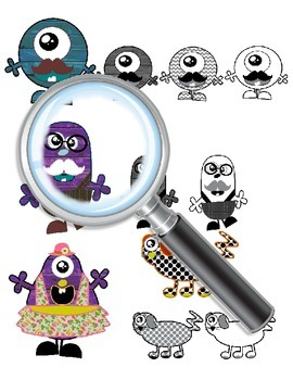 Digital Clip Art Monsters in Color and Black and White Line Art