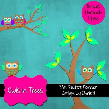 Digital Clip Art: Owls in Trees