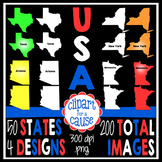 Digital Clip Art:50 United States Graphics-4 Designs-Color