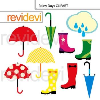 Digital Clip art Rainy Days - Umbrellas and Boots Clipart