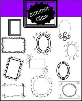 Digital Clipart Doodle Frames and Borders (commercial and personal set of 22)