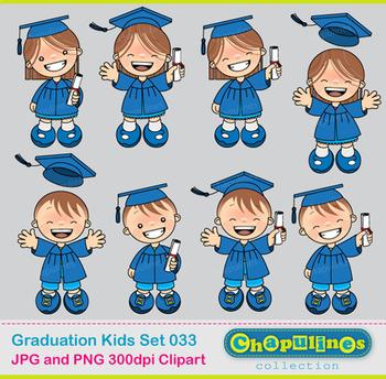 Digital Clipart Graduation Kids Blue, school clipart, Graduación Set 033