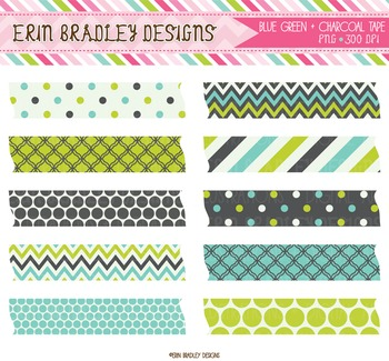 Digital Clipart Labels - Lime Blue Charcoal Patterns