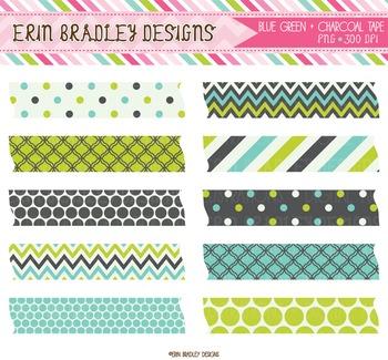 Digital Clipart Labels - Lime Blue Charcoal Patterns