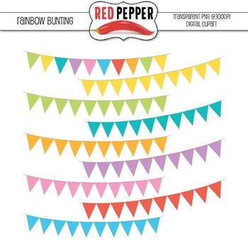Digital Clipart - Rainbow Bunting