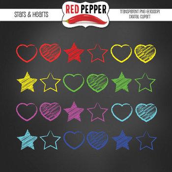 Clipart - Stars & Hearts Chalkies