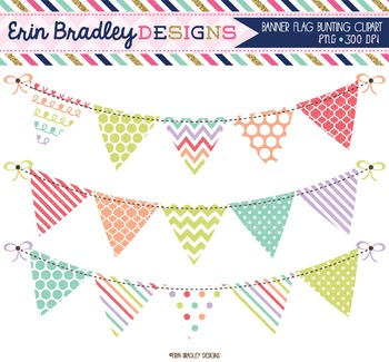 Digital Clipart - Sugar Bunting Graphics
