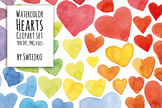 Digital Clipart ,Watercolor Hearts, Hand Painted Clip Art, valentines day, love