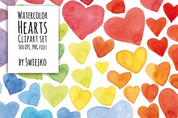 Digital Clipart ,Watercolor Hearts, Hand Painted Clip Art,