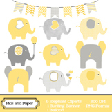 Digital Clipart Yellow and Grey Elephants