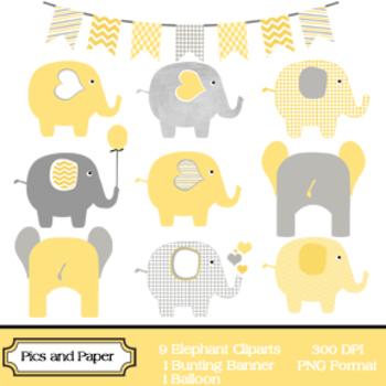 Digital Clipart Yellow and Grey Elephants