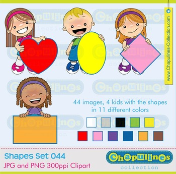 Digital Clipart kids and Geometric Shapes Set 044