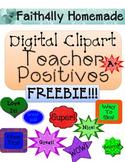 Digital Clipart Teacher Positives FREE!