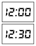 Digital Clock Cards for Hour and Half Hour