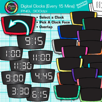 Digital Clock Clip Art Every 15 Minutes | Measurement Tools for Telling Time
