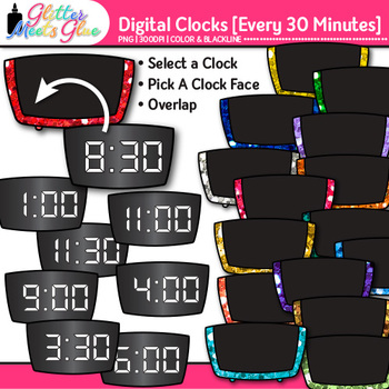 Digital Clock Clip Art Every 30 Minutes {Measurement Tools for Telling Time}