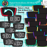 Digital Clock Clip Art Every 30 Minutes | Measurement Tools for Telling Time