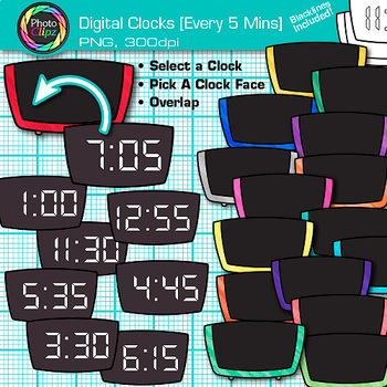 Digital Clock Clip Art Every 5 Minutes   Measurement Tools for Telling Time