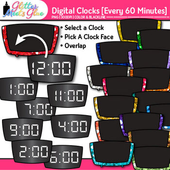 Digital Clock Clip Art Every 60 Minutes {Measurement Tools for Telling Time}