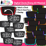 Digital Clock Clip Art Every 60 Minutes | Measurement Tools for Telling Time