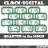 Digital Clock ClipArt Telling Time Quarter to the Hour