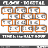 Digital Clock ClipArt Telling Time to the Half Hour