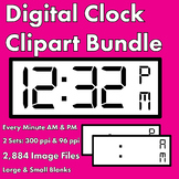 Digital Clock Clipart Bundle - Every Minute AM & PM - Small & Large Sizes