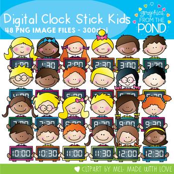 Digital Clock Stick Kids Clipart