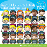Digital Clock Stick Kids Clipart