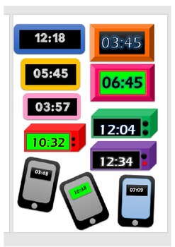 Digital Clock Clipart Worksheets & Teaching Resources | TpT