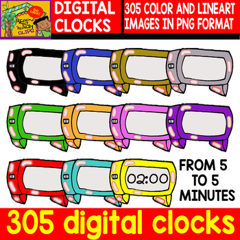 Digital Clocks - Set of Cliparts - #305 Items