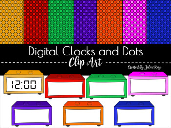 Digital Clocks and Dots Clipart