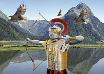 Digital Collage with an Archer (Using Photoshop)