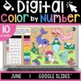 Digital Color by Number | June | Summer | Editable | Google Slides