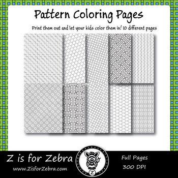Digital Tessellation Coloring Book -  Full Page Patterns - Set 1