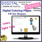 Digital Coloring FREEBIE Distance Learning Shapes Color Google