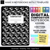 Digital Composition Notebook, Tabs for 5 Subjects