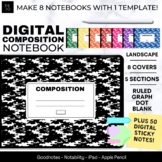Digital Composition Notebook, Tabs for 5 Subjects, Horizon