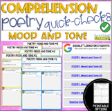 Digital Comprehension Quick-Checks: Poetry- MOOD AND TONE