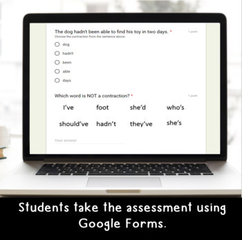 Digital Contractions SELF-GRADING Assessments for Google Classroom
