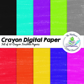 Digital Crayon Paper - Crayon Scribbles - 10 Colours